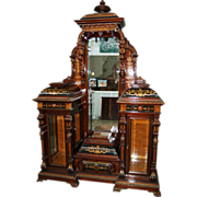 SALE 7495 Pottier and Stymus Rosewood Renaissance Revival Drop Front Inlaid Cabinet