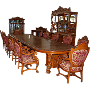 7507 16-Pc. Heavily Carved Oak Winged Griffin Dining Set by R.J. Horner c. 1880