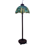 SALE 7523 Antique Tiffany Laburnum Floor Lamp