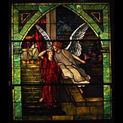 SALE 7546 Tiffany Stained Glass Angel Window