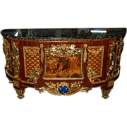 SALE 7554 Louis XVI Cabinet, Antique, with Inlaid Wood and Marble Top