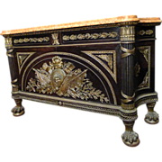 SALE 7559 19th C. Louis XVI French Empire Marble-Top Cabinet