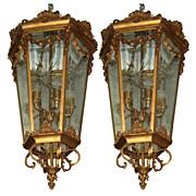 SALE 7566 Pair of Antique 19th C. Hanging Bronze Lanterns