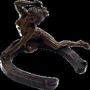 SALE 7609 Bronze Sculpture of Nude Figural Woman on Horseshoe by Récipon