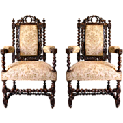 SALE 7678 Pair of 19th C. Carved Figural Armchairs by John Jelliff