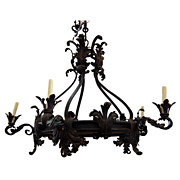 SALE 7682 19th C. French Wrought Iron Chandelier