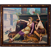 "SALE 7688 19th C. 6'x8' Oil on Canvas Study of ""Cleopatra Testing The Poisons"""