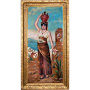 SALE 7692 Oil on Canvas Portrait of an Egyptian Woman Carrying an Urn c. 1920