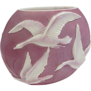 SALE 7696 Rare 20th C. Phoenix Glass Vase with Embossed Geese in Flight