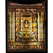 SALE 7713 8-Foot Tall Stained Glass by Tiffany Studios
