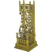 7767 Very Unusual Aesthetic Movement Solid Brass Umbrella Stand with Flora Motif c. 1890
