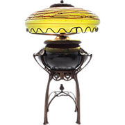 Austrian Iridescent Glass and Cast Metal Table Lamp, c.1900