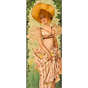 "Mary Golay ""Saison Nouvelle"" A French Art Nouveau Decorative Panel, c.1899"