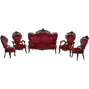 7808 American Rococo Carved and Laminated Rosewood Parlor Suite