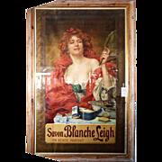 7828 French Art Nouveau Savon Blanche Leigh Poster in Original Frame c. 1899