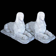SALE 8314 Pair of exceptional hand carved limestone sphinxes signed and dated 1885.