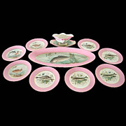 SALE 5586 Hand Painted 10-Pc. Fish Plate Set by Haviland & Co.