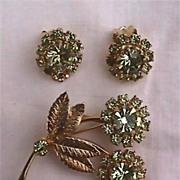Rhinestone Flower Pin Brooch and Earring Set Citroen Colored Rhinestones