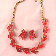 Thermoset Burnt Orange and Gold-tone Necklace and Earring Demi Parure