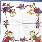Child's Handkerchief - Animals Depicting Various Professions