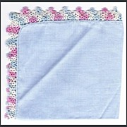 Vintage Blue Handkerchief with Variegated Tatted Edge