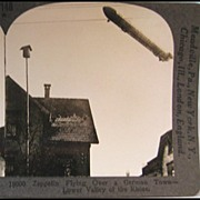 Zeppelin Flying Over a German Town Stereo View by Keystone