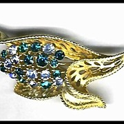 Lisner Pin Brooch with Blue and Turquoise Rhinestones
