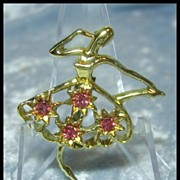 I'm So Pretty Ballerina Dancer Pin by Gerry's with Rhinestone Accents