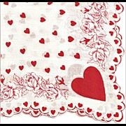 Hearts and Flowers Valentine Hankie