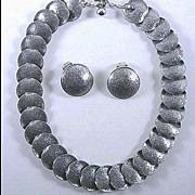 Vintage Napier Silver Tone  Demi Parure Necklace and Earrings