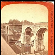 Cabinet Card Stereo View of New York Railroad Bridge