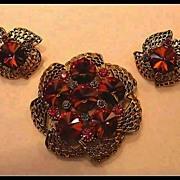 Rivoli Watermelon Demi Parure Brooch & Earrings