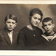SALE Real Photo Postcard of Young French Woman and Her Brothers