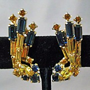 SOLD Juliana Cobalt and Gold Colored Rhinestone Earrings