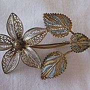Filigree Flower Pin 800 Silver with Gold Vermeil and Enamel