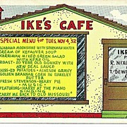 SOLD Ike's Cafe Humorous Political Postcard