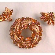 Napier Rhinestone Pin and Earrings Set - Amber Colored Stones