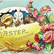 Easter Postcard from 1910 with Chicks in Egg