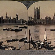 Keystone Stereo View of the Houses of Parliament, Westminster Abby and the Thames in London En