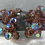 Lovely Lavender Crystal Rhinestone Cuff Earrings