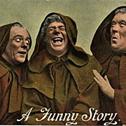 """Postcard of Three Monks Sharing """"A Funny Story"""""""