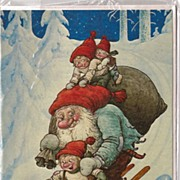 "SOLD Unused Christmas Card by Rolf Lidberg called ""Just hold me tight"""