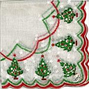 Burmel Hankie with Christmas Trees