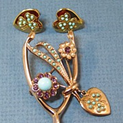 Coro Sterling Wishbone Demi Parure - Pin and Earrings by Adolph Katz