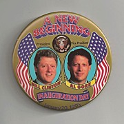 Bill Clinton and Al Gore Inauguration Day Political Button