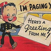 Humorous Postcard of Page Bringing a Greeting