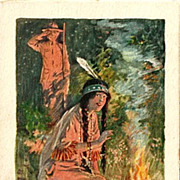 SOLD Indian Princess by Campfire - Painting by Charles Relyea and Poem by Florence J. Mastin