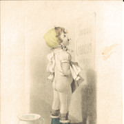 Sweet Postcard of Little Girl  Standing in Front of Potty