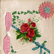 Vintage Happy Birthday Postcard with Pink Ribbon and Felt Flower