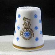 SOLD Royal Doulton Thimble - Blue, White & Gold with Logo